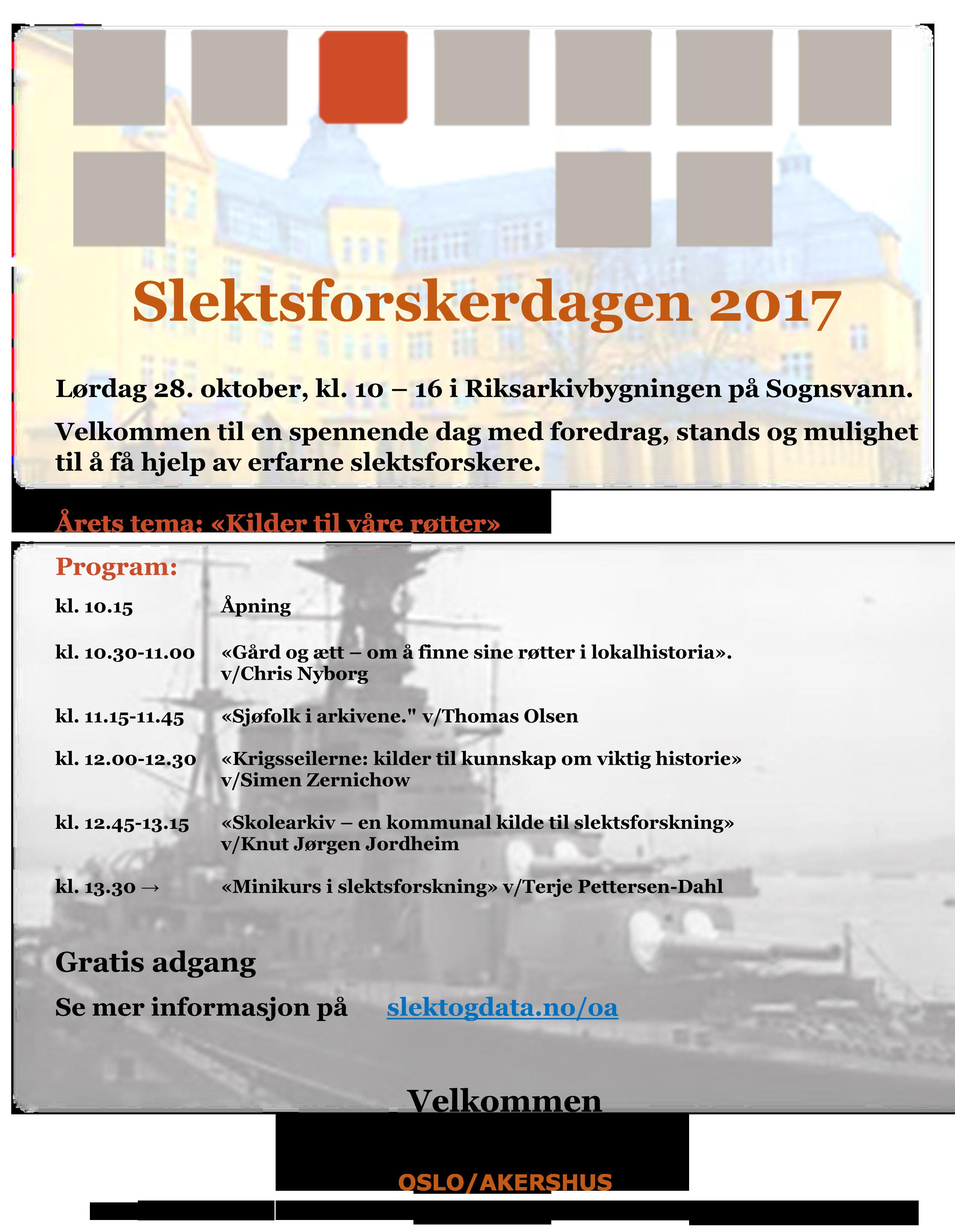 Slektsforskerdagen 28.10.2017 på Riksarkivet i Oslo.